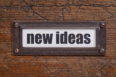 Nuevas ideas - etiqueta del gabinete de fichero Foto de archivo