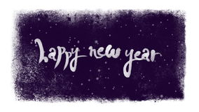 Nuevas letras caligráficas felices de 2017 años con nieve dentro de un marco congelado stock de ilustración