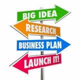 Nuevas muestras del negocio de la idea de la investigación del lanzamiento grande del plan empresarial Imagenes de archivo