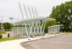 Nuevas paradas de autobús en Burgas, Bulgaria Fotografía de archivo libre de regalías