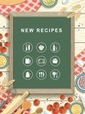 Nuevas recetas escritas en la pizarra en diseño plano Imagen de archivo libre de regalías