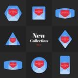 Nuevas tarjetas del sobre del espacio en blanco de la colección de la colección Stock de ilustración