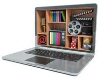 Nuevas tecnologías Laptop Concepto de las multimedias ilustración del vector