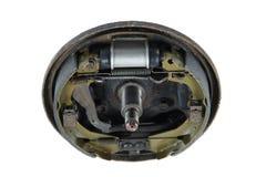 Nuevas zapatas de freno y tambor de freno del cilindro (aislado) Imagen de archivo libre de regalías