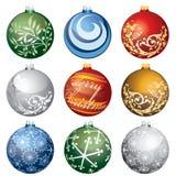 Nueve bolas de la Navidad Imagen de archivo libre de regalías