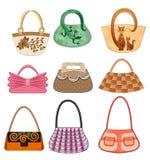 Nueve bolsos femeninos Imagen de archivo libre de regalías