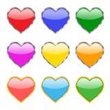 Nueve botones bajo la forma de corazones Fotografía de archivo