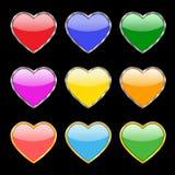 Nueve botones bajo la forma de corazones Fotos de archivo