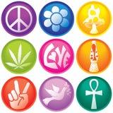 Nueve botones del icono 60s Imagen de archivo libre de regalías
