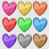 Nueve botones enmarañados del web del corazón del color en blanco Foto de archivo libre de regalías