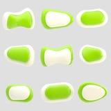 Nueve botones verdes y blancos brillantes aislados Fotos de archivo