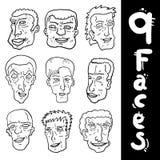 Nueve caras Fotografía de archivo libre de regalías