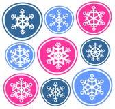 Nueve copos de nieve Foto de archivo