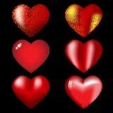 Nueve corazones rojos con puntos culminantes Foto de archivo libre de regalías