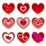 Nueve de corazones en diverso diseño Fotos de archivo