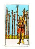9 nueve de haber guardado ansioso de la cautela de la carta de tarot de las varas, herido en la mirada hacia fuera que cuenta con libre illustration