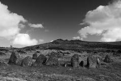 Nueve doncellas empiedran el círculo, Belstone, Dartmoor Imagenes de archivo