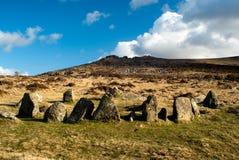 Nueve doncellas empiedran el círculo, Belstone, Dartmoor Fotografía de archivo libre de regalías