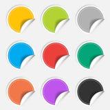 Nueve etiquetas engomadas en blanco coloridas fijadas Colección de la insignia Fotos de archivo libres de regalías