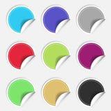 Nueve etiquetas engomadas en blanco coloridas fijadas Colección de la insignia Ilustración del vector Foto de archivo