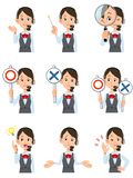 Nueve expresiones faciales y gestos de las mujeres que llevan auriculares stock de ilustración