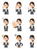 Nueve expresiones faciales y gestos de operadores de sexo femenino ilustración del vector