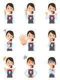 Nueve expresiones faciales y gestos de un operador de sexo femenino ilustración del vector