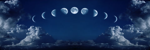 Nueve fases del ciclo de crecimiento completo de la luna Fotos de archivo