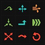 Nueve flechas modernas planas stock de ilustración
