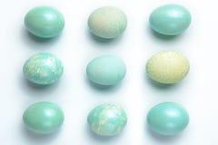 Nueve huevos de la turquesa Fotografía de archivo