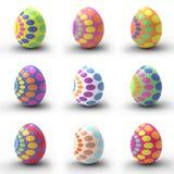 Nueve huevos de Pascua Imagenes de archivo