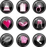 Nueve iconos brillantes negros del Web de la boda. Imagen de archivo libre de regalías