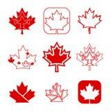 Nueve iconos canadienses de la hoja de arce Foto de archivo libre de regalías