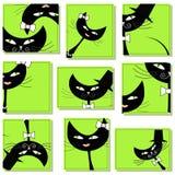 Nueve iconos con los gatos Imagen de archivo libre de regalías
