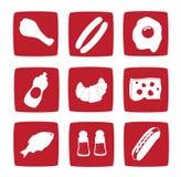 Nueve iconos del alimento Imágenes de archivo libres de regalías