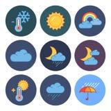 Nueve iconos modernos planos del tiempo libre illustration