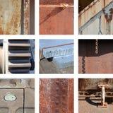 Nueve imágenes de estructuras oxidadas Imagen de archivo