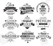 Nueve insignias o etiquetas del vintage Imágenes de archivo libres de regalías