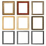 nueve marcos de madera aislados en blanco Foto de archivo
