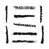 Nueve movimientos aislados del cepillo, pintados con un cepillo Línea del Grunge Imagen de archivo