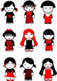 Nueve muñecas negras rojas de las muchachas. Imagen de archivo libre de regalías