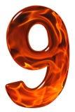 9, nueve, número del vidrio con un modelo abstracto de un flamin Imagenes de archivo