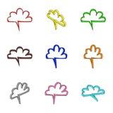 Nueve nubes coloreadas 3d Stock de ilustración