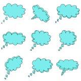 Nueve nubes del azul 3d Ilustración del Vector