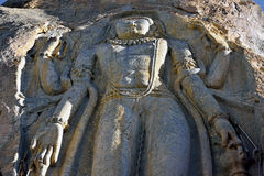 Nueve pies de alta escultura de Maitrya Buda, Mulbek Chamba, Mulbek-Kargil, Ladakh, la India imagenes de archivo