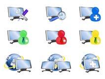 Nueve R-series de los iconos del Internet Imagen de archivo