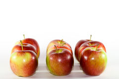 Nueve rojos y manzanas verdes. Imagenes de archivo