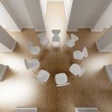 Nueve sillas blancas en un círculo Fotos de archivo