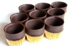 Nueve tazas del chocolate Fotografía de archivo libre de regalías