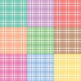 Nueve telas escocesas en colores pastel Fotografía de archivo